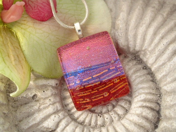 Deep Red Dichroic Necklace - Dichroic Fused Glass Jewelry - Dichroic Glass Pendant -  Necklace 071412p102a