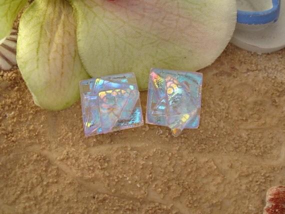 Confetti Stud Earrings - Dichroic Glass Earrings -Dichroic Glass -  Post Earrings - Glass Earrings -  Dichroic Stud Earrings 082112e100