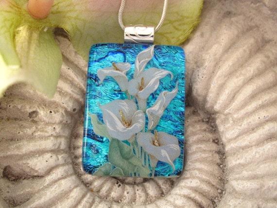 Calla Lily Necklace - Dichroic Glass necklace- Dichroic Glass Jewelry - Fused Glass Jewelry - Necklace  Calla Lily 091412p108