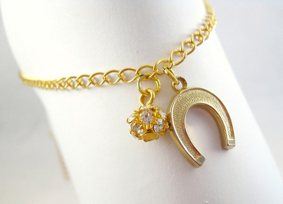 50% OFF Gold Horseshoe Ankle Bracelet Crystal Bead Good luck Summer Fashion Foot Jewelry
