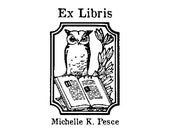 Owl ex libris custom rubber stamp bookplate