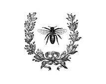 French Wreath Bee rubber stamp