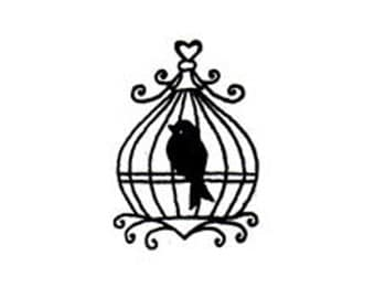 micro mini bird and bird cage rubber stamp birdcage