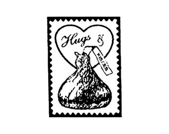 Hugs and Chocolate Kisses Faux Postage Stamp Large Rubber Stamp
