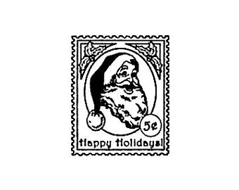 SUPER CLEARANCE SALE Santa Postage Stamp Rubber Stamp Happy Holidays