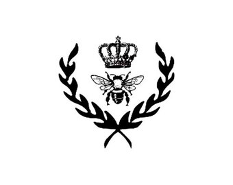 royal queen bee Rubber Stamp with crown and laurel leaves