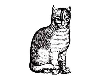 CLEARANCE Kitty Cat Victorian Era Vintage antique rubber stamp