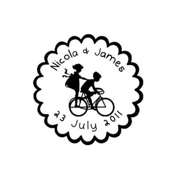 save the date custom rubber stamp Kids on bicycle cute wedding gift personalized bike