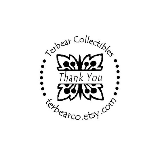 custom flower thank you rubber stamp floral