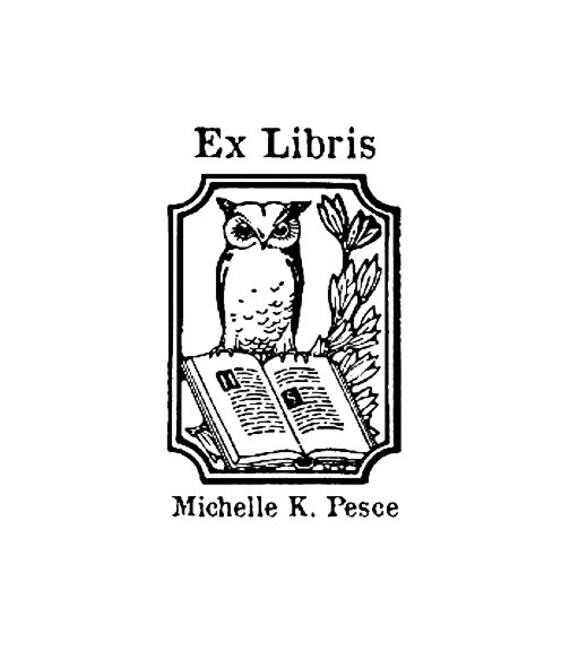 Buho ex libris sello personalizado bookplate - Ex libris personalizados ...