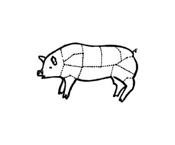 pig meat cutting chart rubber stamp