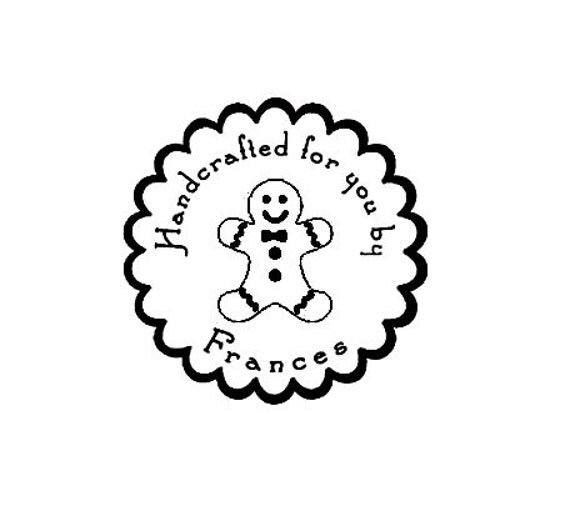 Custom Christmas Gingerbread man  Rubber Stamp for your home baked goods