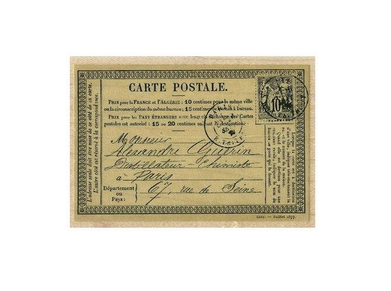 Antique Paris Carte Postale French Postcard rubber stamp post