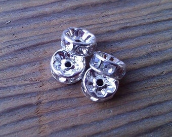 Crystal Rhinestone Rondelles. 8 mm. Silver Plate. Six.