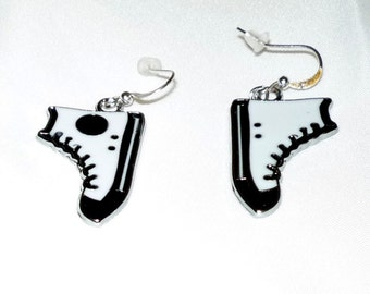 Running Shoe Earrings Converse All Stars White Black Dr Who Geeky Shoes novelty
