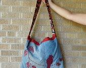 RESERVED Recycled Tote Bag Maroon Bird Upcycled Jeans RESERVED