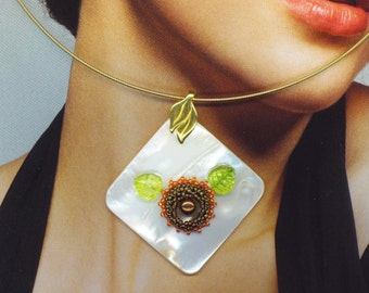 Beaded/ Beadwoven Genuine Pearl Flower . Mother of Pearl Square Pendant . Lime Green Glass Leaves . Copper Gold Seed beads - A Floral Secret