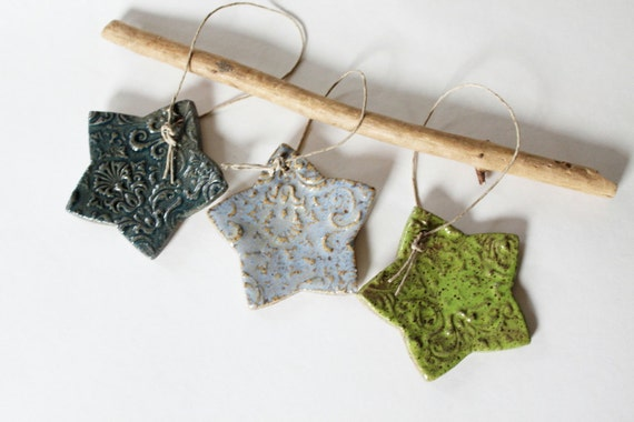 Clay Star Ornaments, Embossed,  Set of 3