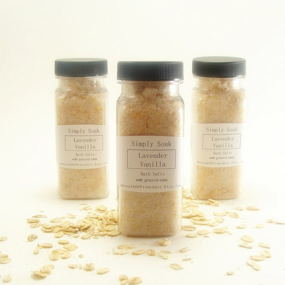Lavender Vanilla  Organic Dead Sea Salt Oatmeal  Bath Soak 4.5 Ounces Gift Simply Soak