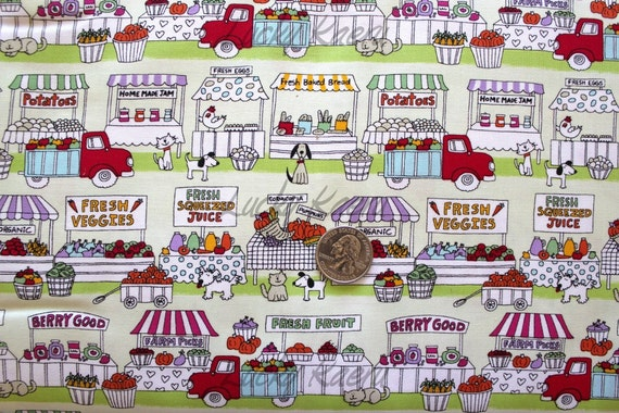Timeless Treasures Farmer's Market Food Stands Fabric in Green - By the Yard