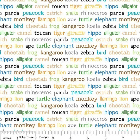 NEW Riley Blake Designs, Zoofari, Zoofari Words White Fabric - By the Yard