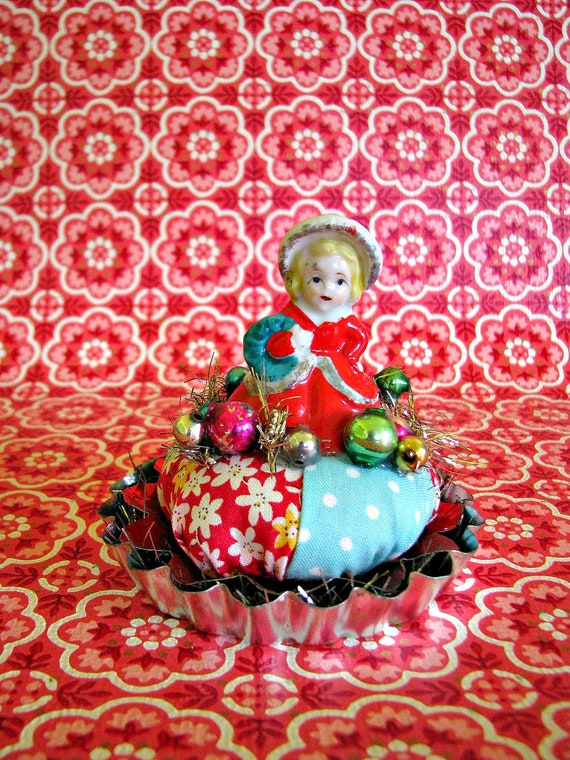 Vintage Christmas Miss on Tart Mold Pin Cushion