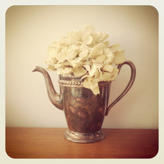 Silver Teapot Vintage Shabby Chic - Silver on Copper - Vase