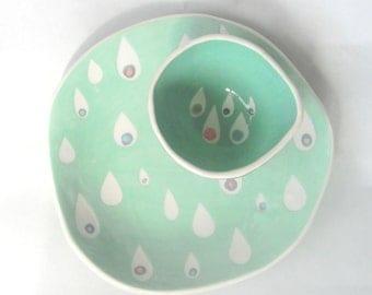 Hand built ceramic plate Mint Raindrops
