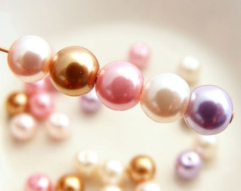 6mm Glass Pearl Beads Round Orchid Glass Bead Mix (Qty 25)