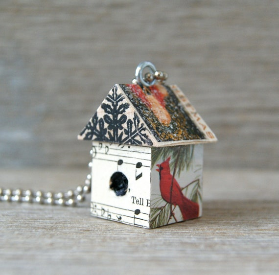 Funky Bigger Little BirdHouse Necklace Pendant Christmas Ornament  Keychain - Art By Heather - Ready To Ship