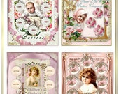 Vintage Baby Children Button Card for Tags, Labels, Cardmaking, Scrapbooking Cottage Chic Digital INSTANT DOWNLOAD
