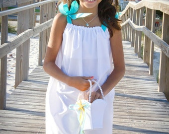 White beach portrait Flower girl pillowcase dress with your color ties sizes 0 infant to12 girls