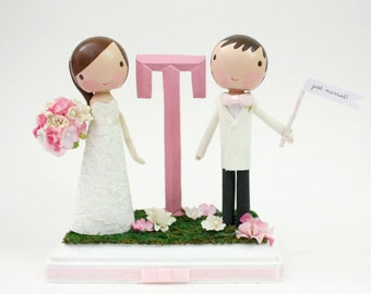 custom wedding cake topper with monogram