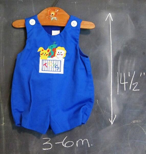 Vintage Baby Boy Blue Shortalls, Overalls, Onesie- 3-6 months, Applique, Toybox, Bunny Rabbit, Giraffe, Lion