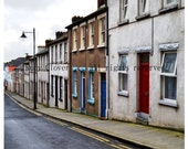 A walk in Waterford City, IRELAND Town Photo, Alexander Street, Square print, Grand Soft Day, Colorful Row Houses, 8x8, IRISH Photography