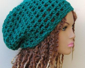 Emerald teal green slouchy beanie dread tam hippie chunky boho hat