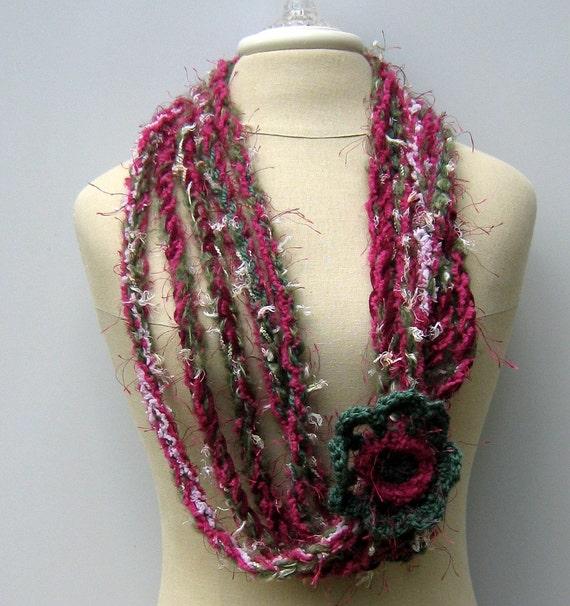 Flower Cowl Gypsy Braids Infinity Scarf Fiber necklace Hippie neck wear