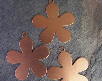 Daisy Shaped Copper Stamping Blanks for Charms, Tags or Embellishments