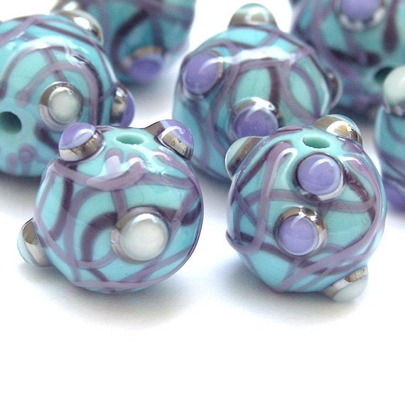 Shine - Round Lampwork Glass Bead Set in Turquoise and Purple (7)