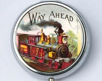 Train PILL case pillbox pill box holder vintage locomotive