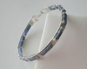 Sodalite bracelet  Wire wrapped bracelet Sodalite beads and silver filled wire wrapped bangle bracelet  Blue bangle bracelet