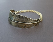 gold feather cuff bracelet 14kt gold filled chain
