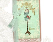 French Vintage Mannequin Dressform Notebook Corset Rose customised Moleskine Cahier