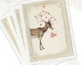Valentine Postcards, Deer, Woodland, Love, Red Hearts, Vintage Style, Christmas Card, Original Artwork