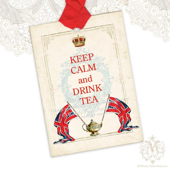 Keep Calm and Drink Tea, gift tags, Union Jack, Flag, British, London, Teapot, Royal crown, High tea