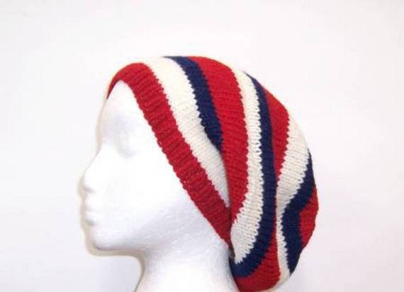 Red White Blue Hat wool Beret knitted Slouch size large 4100