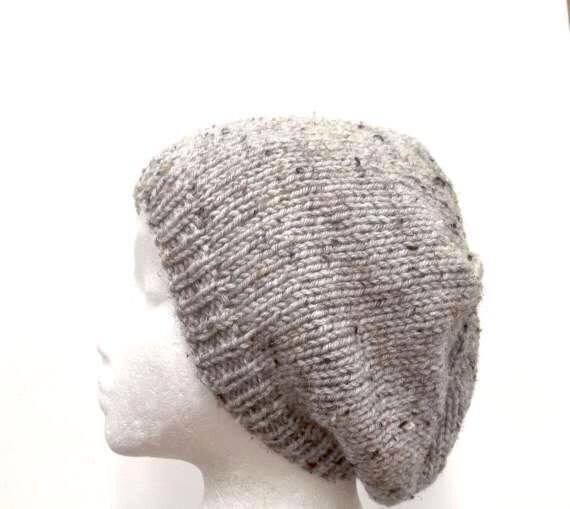 Knit Beanie Grey Marble Flecks Slouch acrylic Beret  size medium  4499