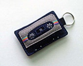 Cassette Tape Keyring  - Navy and Gray Mix Tape Keychain