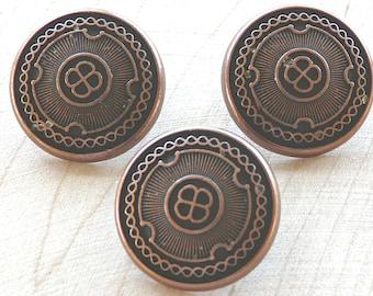 3351 Antique Copper Decorative Shield Metal Button  F31