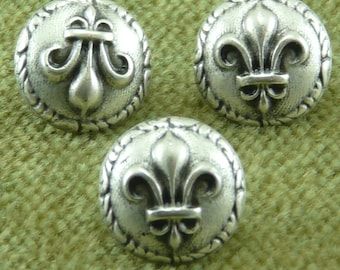Ancient Rome Roman French Fleur De Lis Antique Silver Buttons  C25